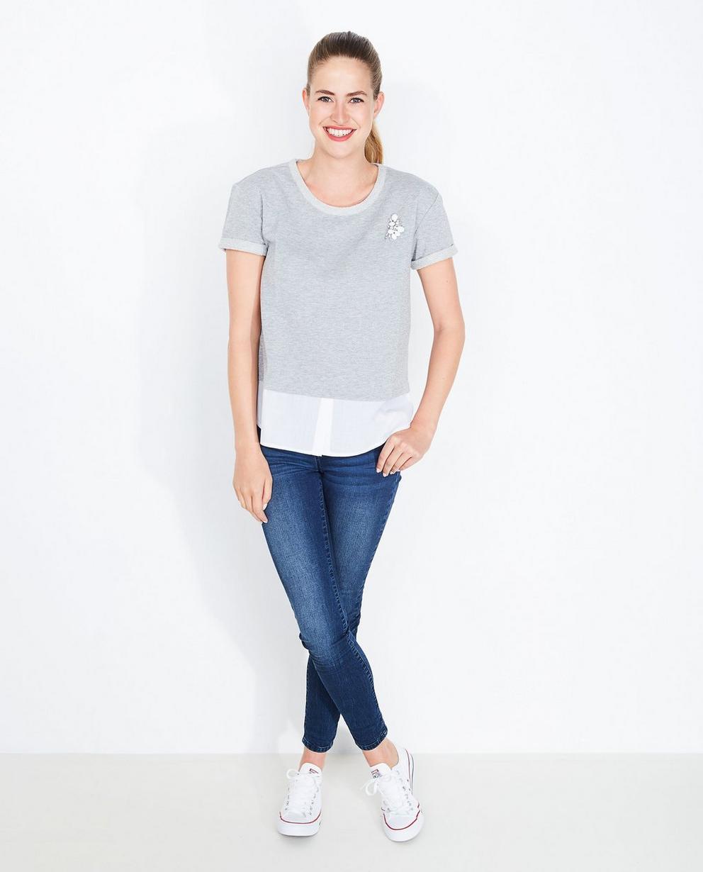 T-shirt, fil métallisé - look en deux parties - JBC
